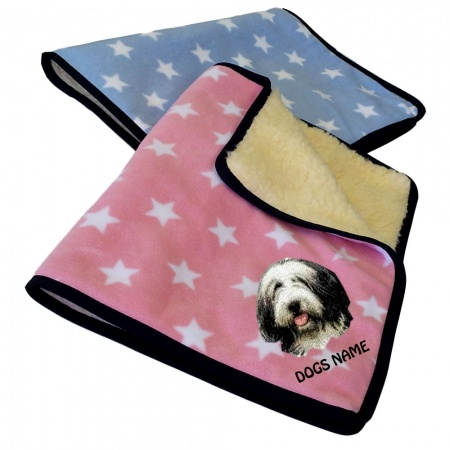 Bearded Collie Personalised Luxury Fleece Dog Blankets Pale Stars Design