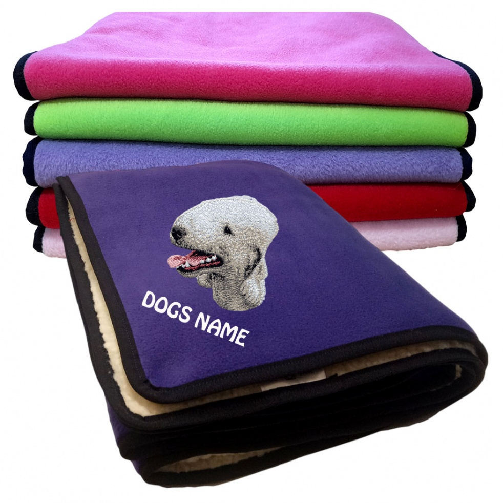 Bedlington Terrier Personalised Luxury Fleece Dog Blankets Plain Colours
