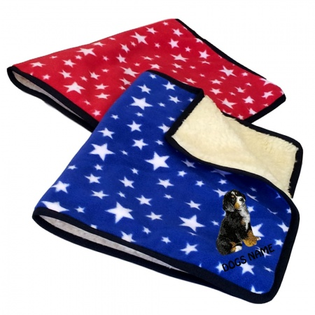 Bernese Mountain Dog Personalised Luxury Fleece Dog Blankets Bright Stars Design