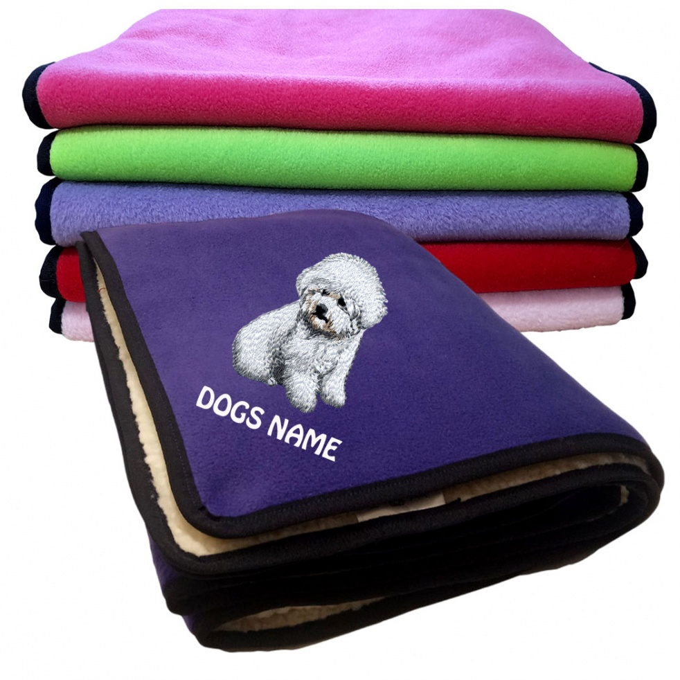 Bichon Frise Personalised Luxury Fleece Dog Blankets Plain Colours