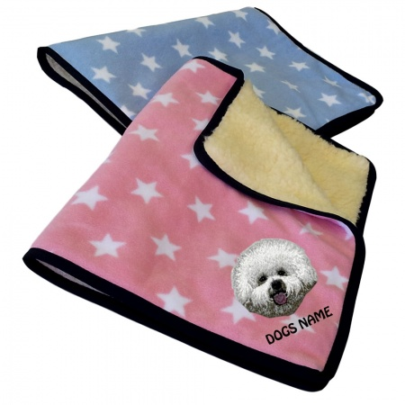 Bichon Frise Personalised Luxury Fleece Dog Blankets Pale Stars Design