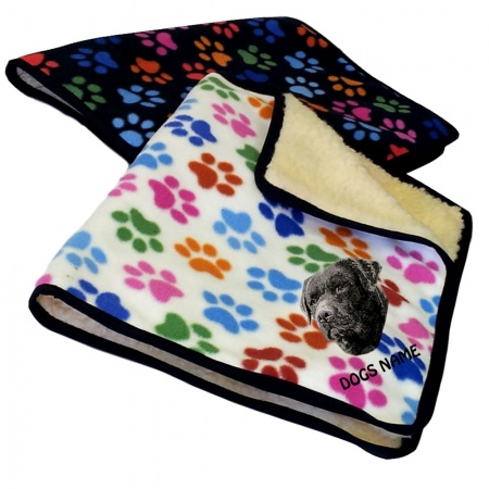 Black Labrador Retriever Personalised Luxury Fleece Dog Blankets Paw Print Design