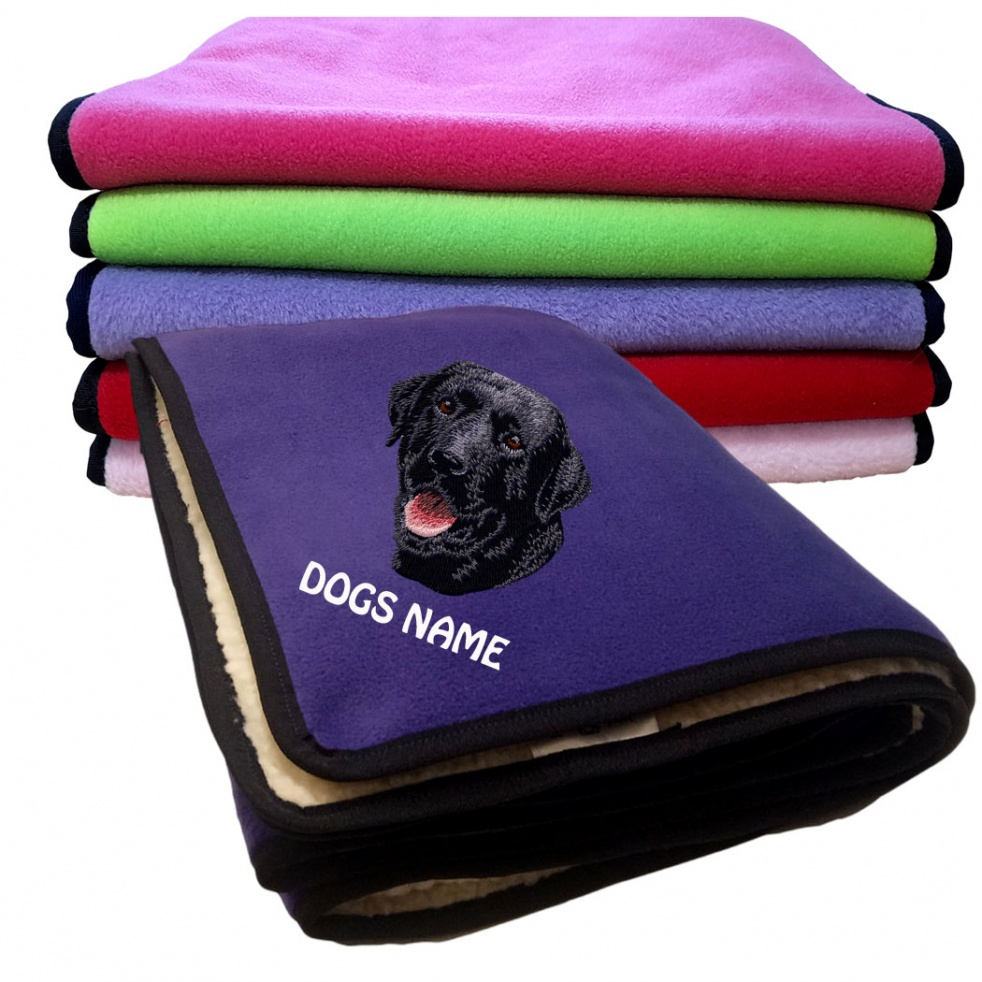 Labrador Retriever (Black ) Personalised Luxury Fleece Dog Blankets Plain Colours