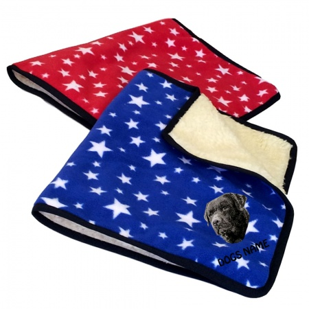 Black Labrador Retriever Personalised Luxury Fleece Dog Blankets Bright Stars Design