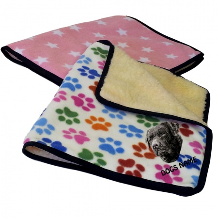 Labrador Retriever (Black ) Personalised Luxury Fleece Dog Blankets Designer Prints