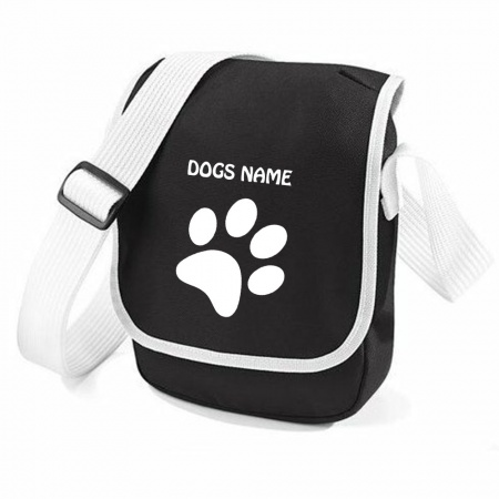 Personalised Pawprint Bag Base Mini Reporter Bag - Black White