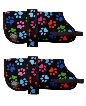Personalised Fleece Dog Coats - Black Multi Paws