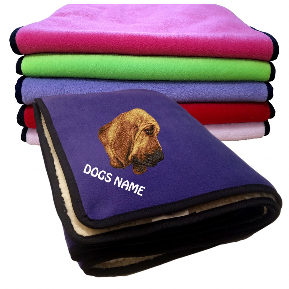Bloodhound Personalised Luxury Fleece Dog Blankets Plain Colours