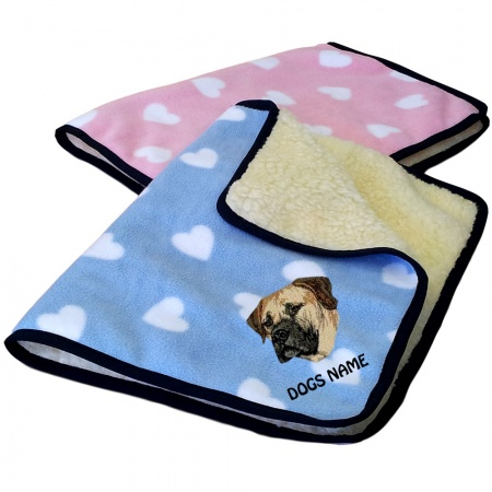 Boerboel Personalised Luxury Fleece Dog Blankets Heart Design