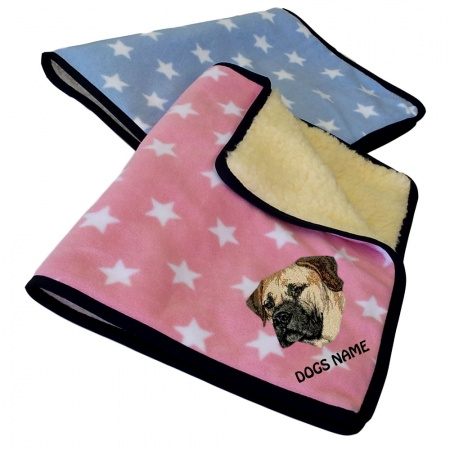Boerboel Personalised Luxury Fleece Dog Blankets Pale Stars Design