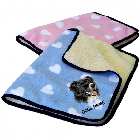 Border Collie Personalised Luxury Fleece Dog Blankets Heart Design