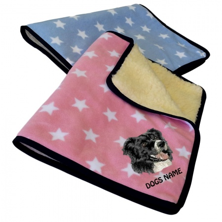 Border Collie Personalised Luxury Fleece Dog Blankets Pale Stars Design