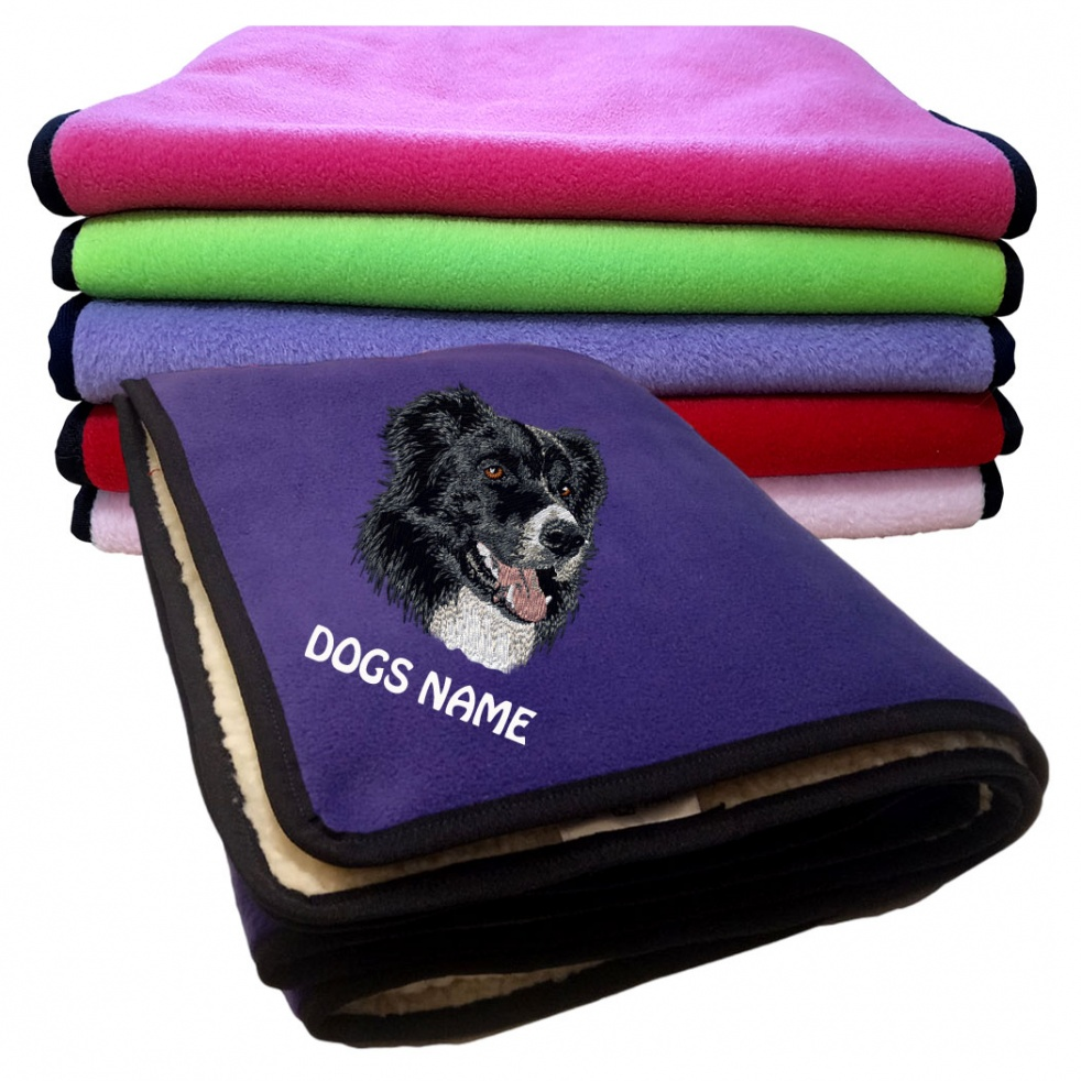Border Collie Personalised Luxury Fleece Dog Blankets Plain Colours