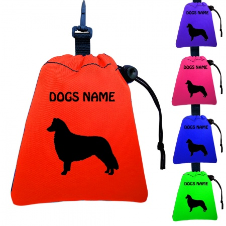 Border Collie Personalised Training Treat Bags - Clips To Dog Lead- Silhouette