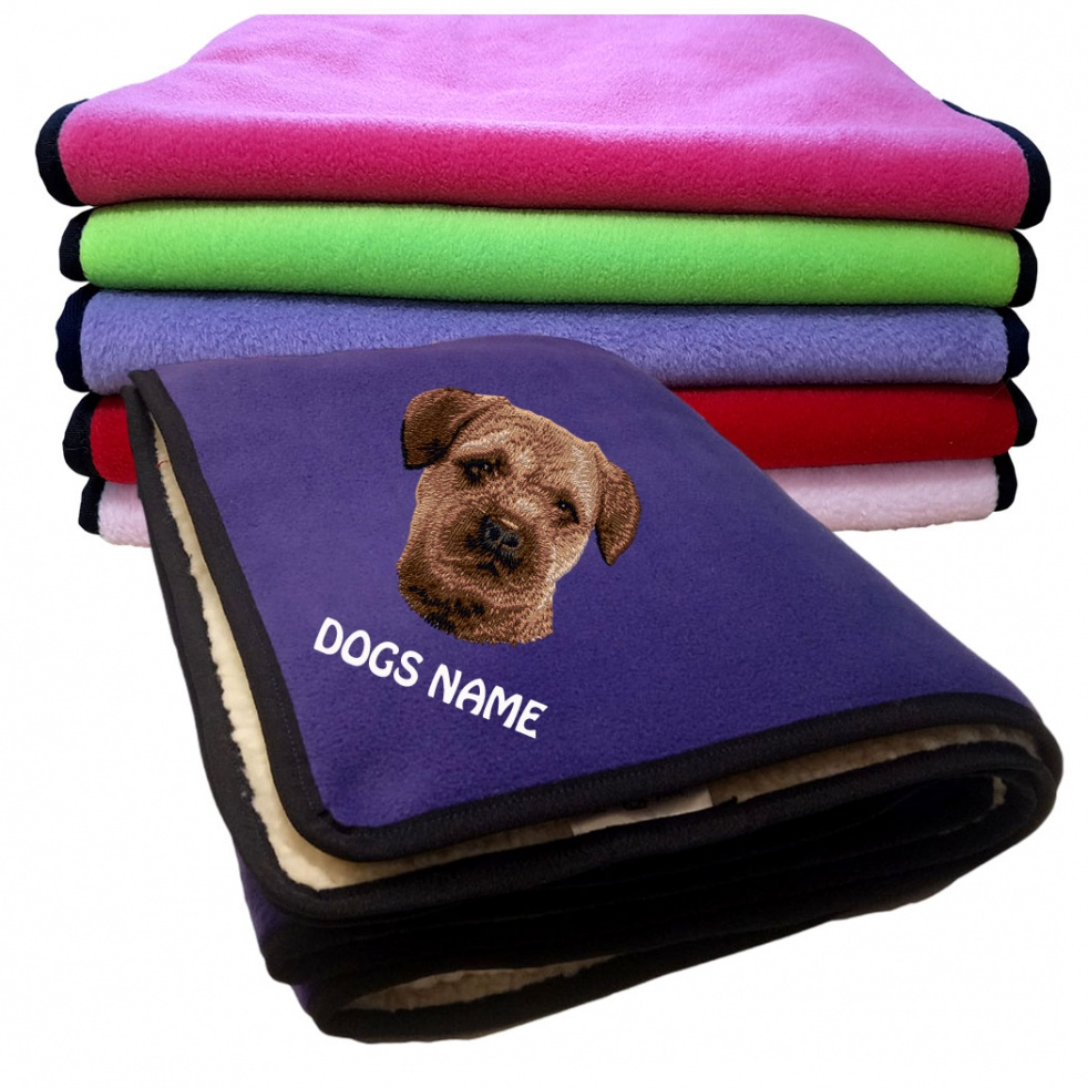 Border Terrier Personalised Luxury Fleece Dog Blankets Plain Colours