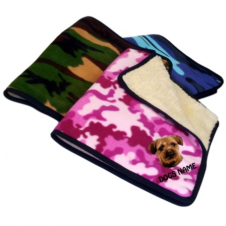 Border Terrier Personalised Luxury Fleece Dog Blankets Camouflage Design