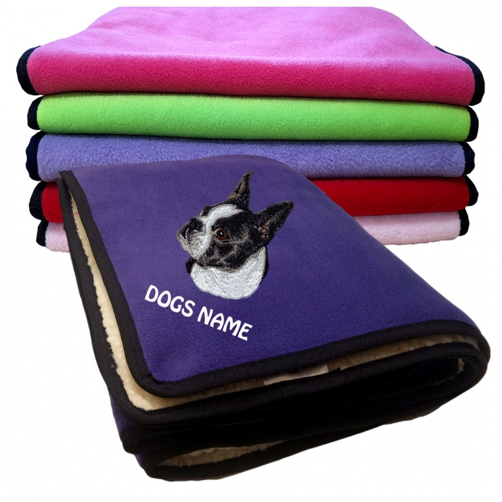 Boston Terrier Personalised Luxury Fleece Dog Blankets Plain Colours