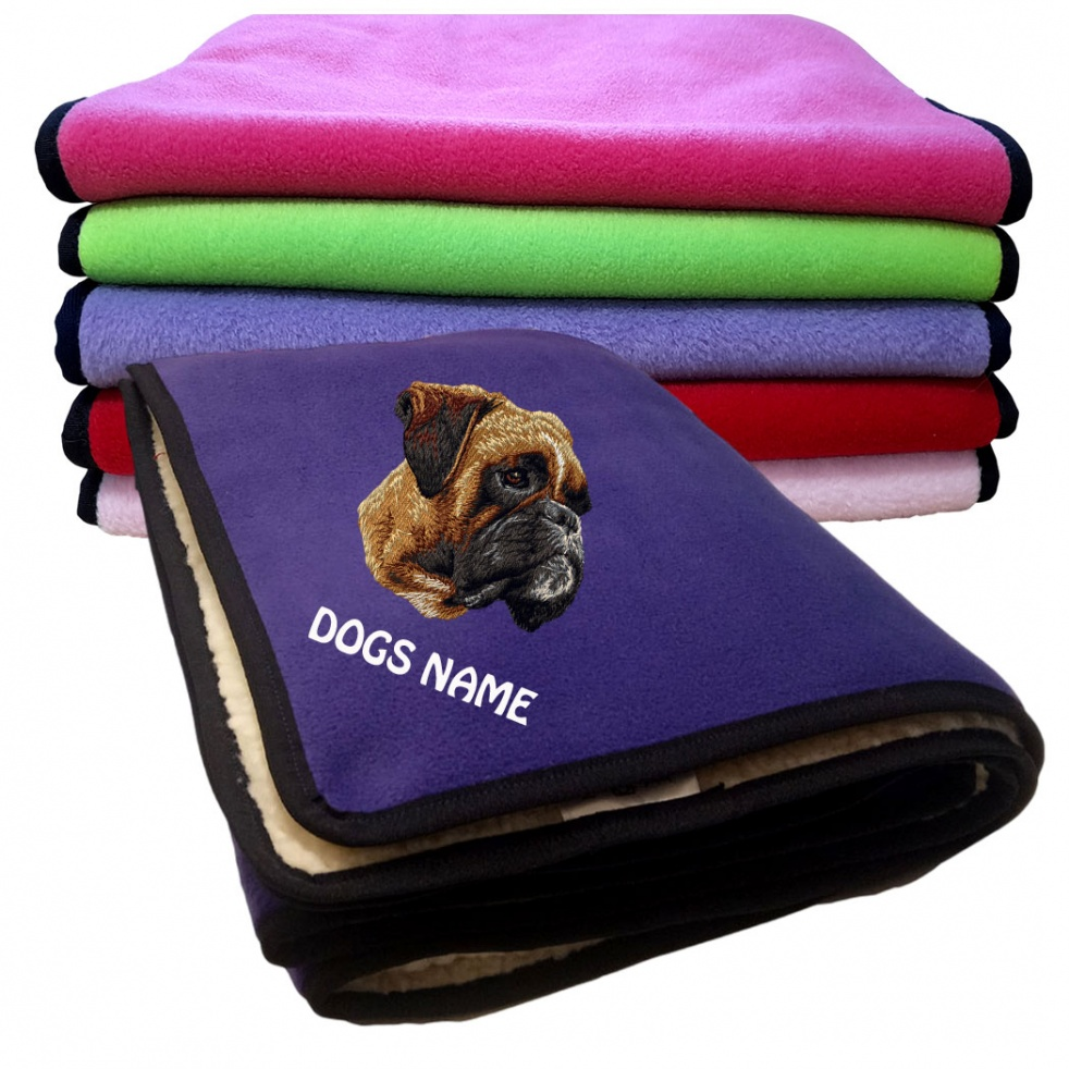 Boxer Personalised Luxury Fleece Dog Blankets Plain Colours