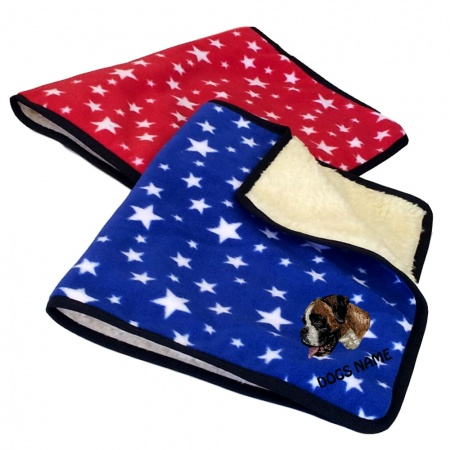 Boxer Personalised Luxury Fleece Dog Blankets Bright Stars Design