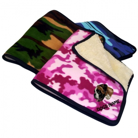 Boxer Personalised Luxury Fleece Dog Blankets Camouflage Design