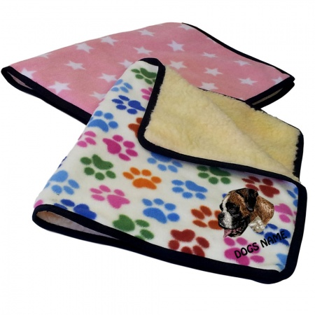 Boxer Personalised Luxury Fleece Dog Blankets Designer Prints