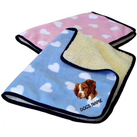 Brittany Spaniel Personalised Luxury Fleece Dog Blankets Heart Design