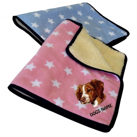 Brittany Spaniel Personalised Luxury Fleece Dog Blankets Pale Stars Design