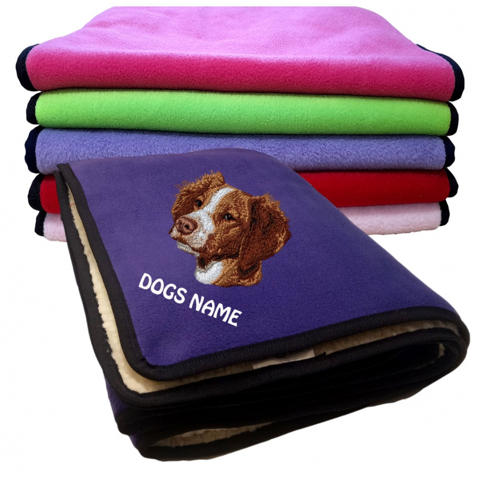 Brittany Spaniel Personalised Luxury Fleece Dog Blankets Plain Colours