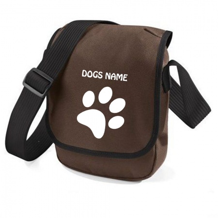 Personalised Pawprint Bag Base Mini Reporter Bag - Brown