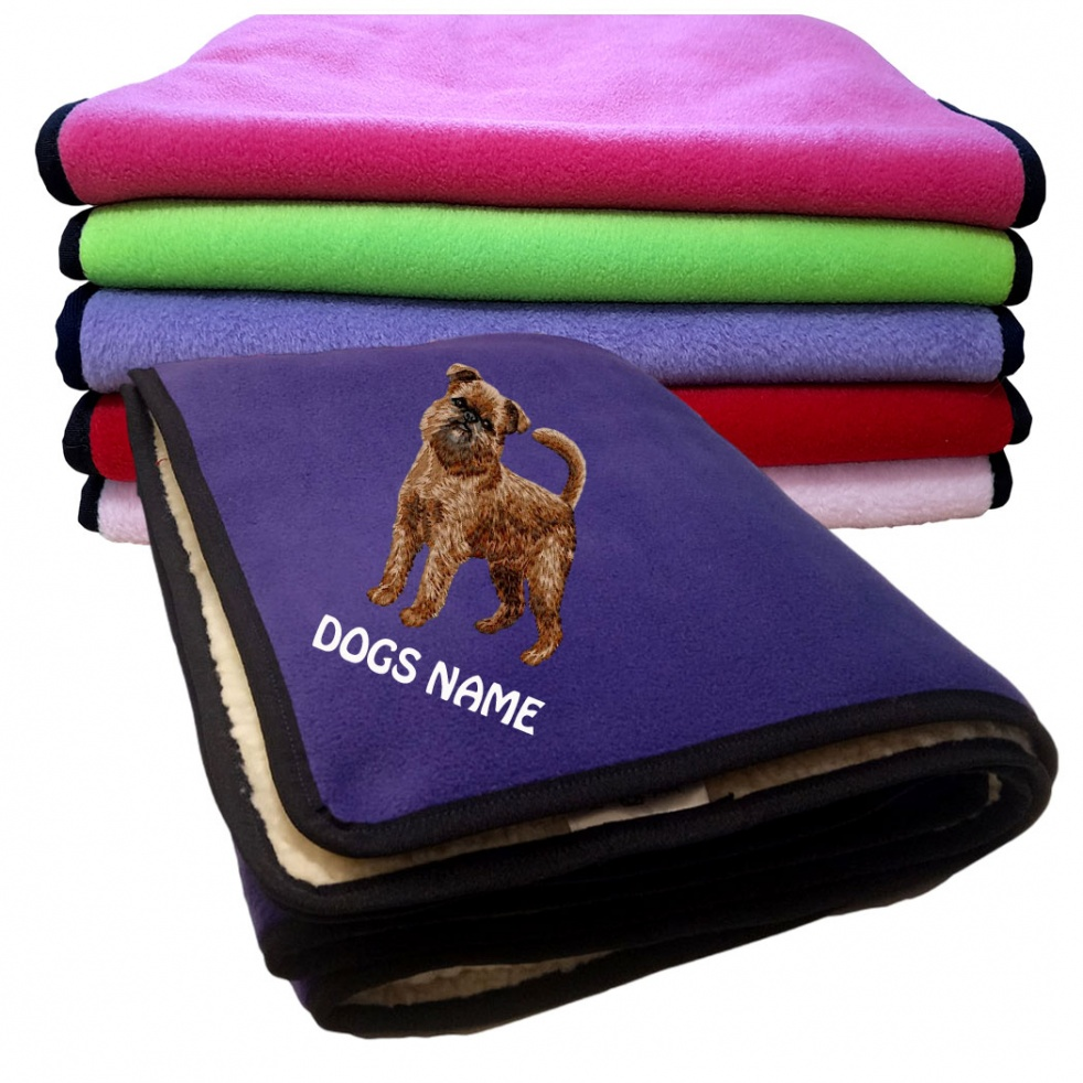 Brussels Griffon Personalised Luxury Fleece Dog Blankets Plain Colours