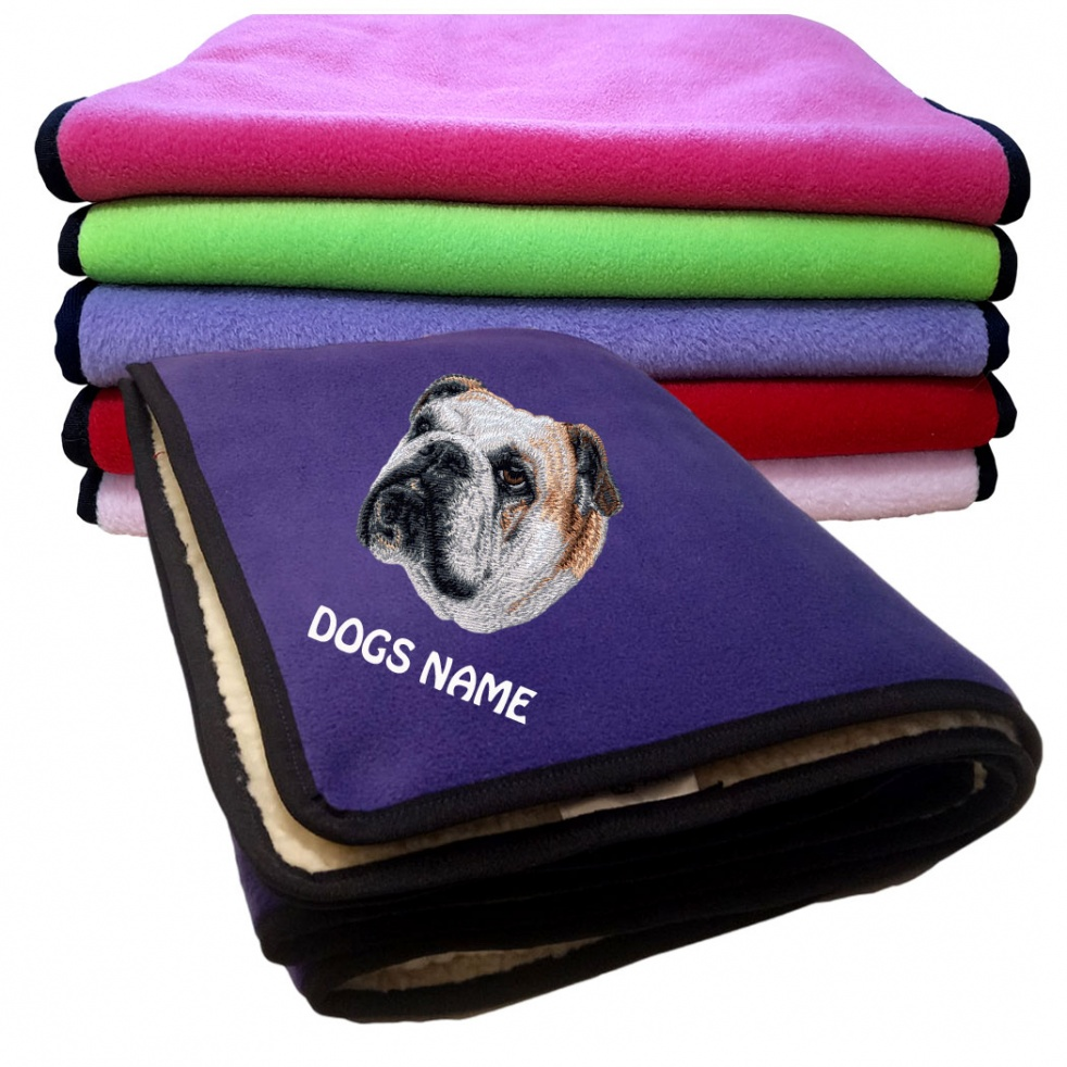 English Bulldog Personalised Luxury Fleece Dog Blankets Plain Colours