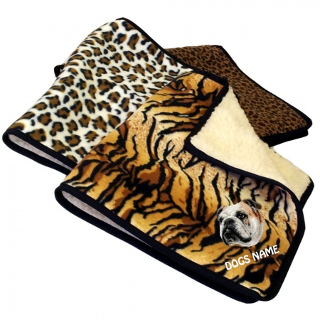 Bulldog Personalised Luxury Fleece Dog Blankets Animal Print Design