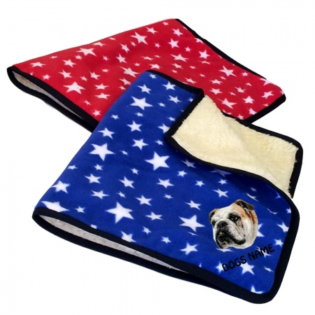 Bulldog Personalised Luxury Fleece Dog Blankets Bright Stars Design