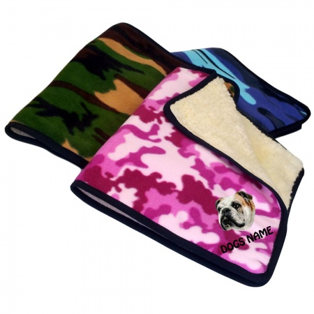 Bulldog Personalised Luxury Fleece Dog Blankets Camouflage Design