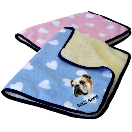 English Bulldog Personalised Luxury Fleece Dog Blankets Heart Design