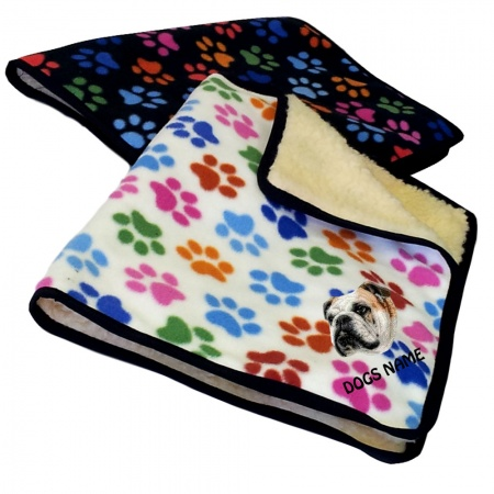 Bulldog Personalised Luxury Fleece Dog Blankets Paw Print Design