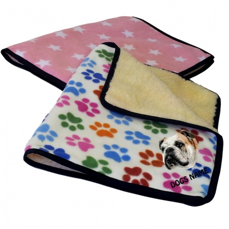 English Bulldog Personalised Luxury Fleece Dog Blankets Designer Prints