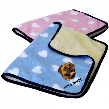 Bullmastiff Personalised Luxury Fleece Dog Blankets Heart Design