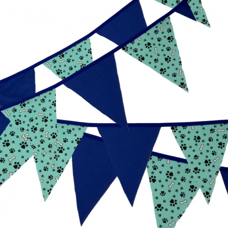 Fabric Bunting - Paw And Bone - Turquoise And Royal - 12 Flags - 10 ft length ( 3 metres)