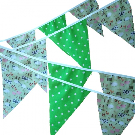 Bunting - Lime Farmyard & Lime Spots - 12 Flags - 10 ft length ( 3 metres)