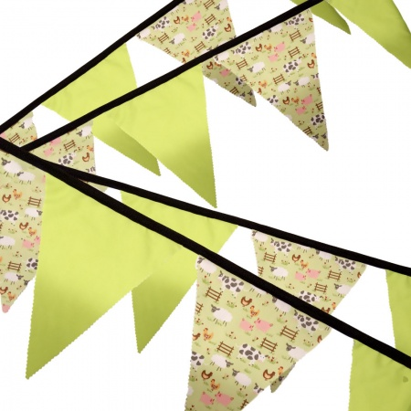 Bunting - Lime Farmyard - 12 Flags - 10 ft length ( 3 metres)
