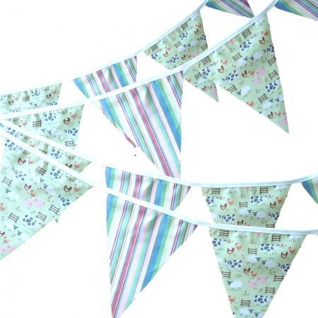 Bunting - Lime Farmyard & Pastel Stripes - 12 Flags - 10 ft length ( 3 metres)