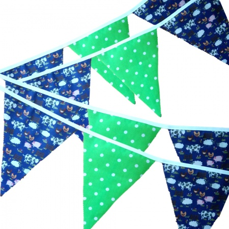 Bunting - Purple Farmyard & Lime Spots - 12 Flags - 10 ft length ( 3 metres)