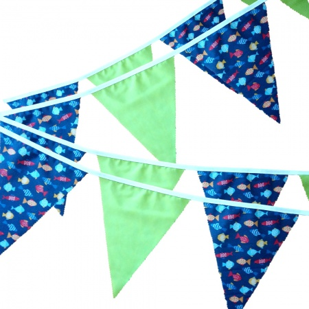Bunting -  Fish & Lime - 12 Flags - 10 ft length ( 3 metres)