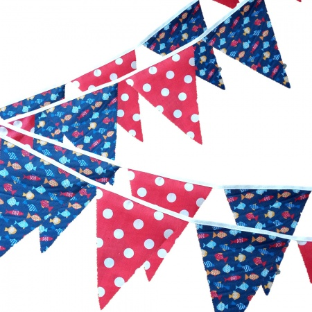 Bunting -  Fish & Red Spots - 12 Flags - 10 ft length ( 3 metres)