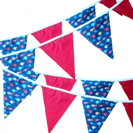 Bunting -  Fish & Red - 12 Flags - 10 ft length ( 3 metres)