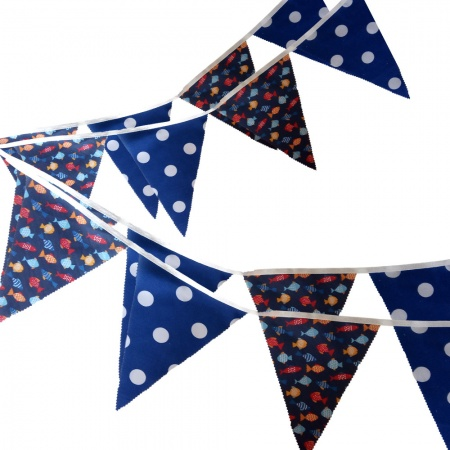 Bunting - Fish & Royal Dots - 12 Flags - 10 ft length ( 3 metres)