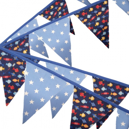 Bunting - Fish & Stars - 12 Flags - 10 ft length ( 3 metres)