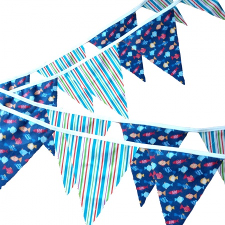 Bunting -  Fish & Stripes - 12 Flags - 10 ft length ( 3 metres)