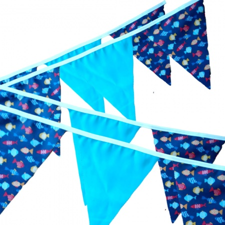 Bunting -  Fish & Turquoise - 12 Flags - 10 ft length ( 3 metres)
